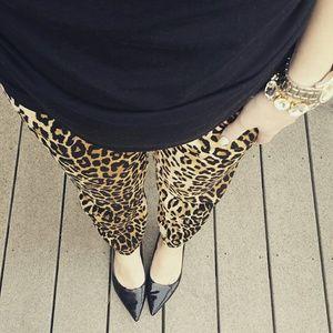 Leopard print drapey pants