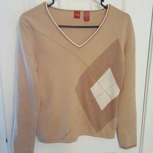 Valerie Stevens Sweaters - Valerie Stevens V-Neck Argyle Sweater