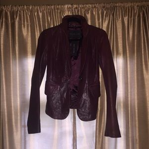 Rachel Zoe classic fitted leather jacket in plum