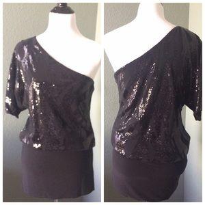 Frederick's of Hollywood Dresses & Skirts - Black Sequin Design Banded Bottom Dress