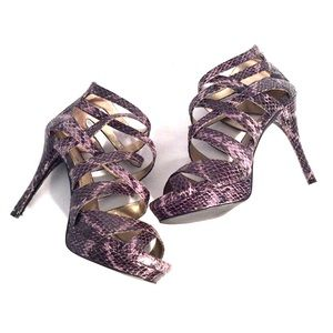 BP charcoal strappy snake heels
