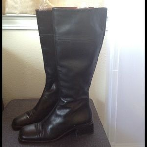 BALLY Black Leather Boots 6.5/37