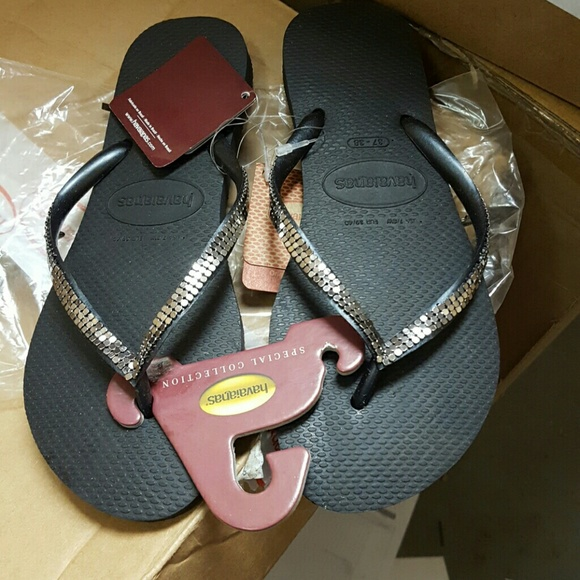 4e02feb0255a Havaianas Women s Slim Metal Mesh Black Flip Flops