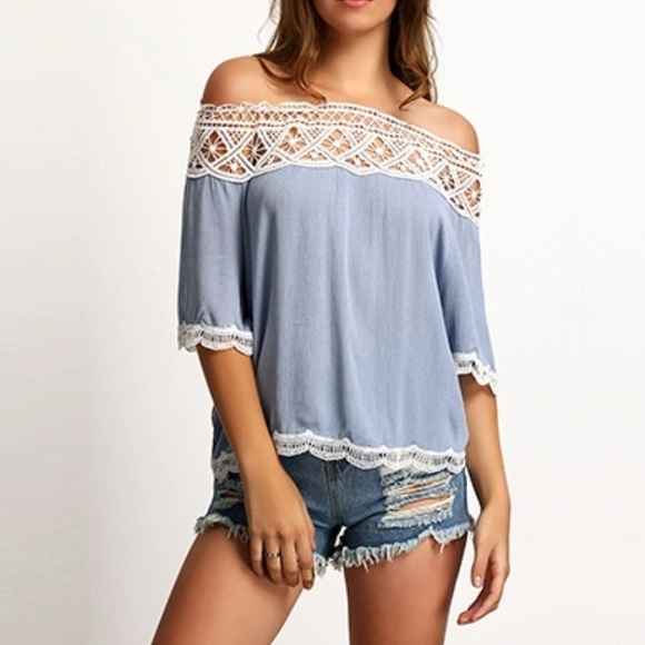 Tops - 🎉[hpX2]🎉 Off the Shoulder Lacy Crocheted Top