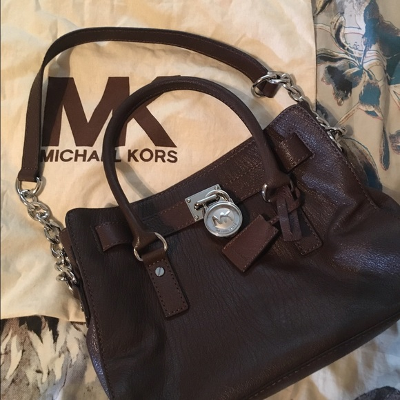 HAMILTON SAFFIANO LEATHER MEDIUM SATCHEL- brown. Boutique. MICHAEL Michael  Kors dfa123c14bf22