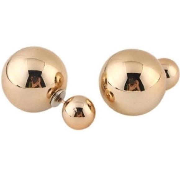 f86beeb53 Jewelry | Luxury Golden Double Sided Ball Stud Earrings | Poshmark