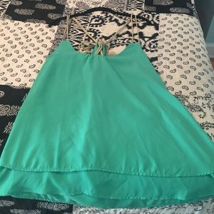 Emerald Green Dressy Top w/Gold Straps&Tie in Back