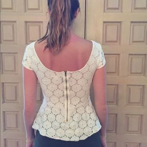 Lace peplum top worn once