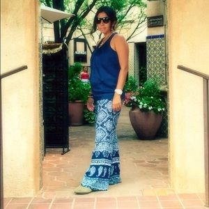 Kiss & cry Pants - Navy blue boho palazzo pants