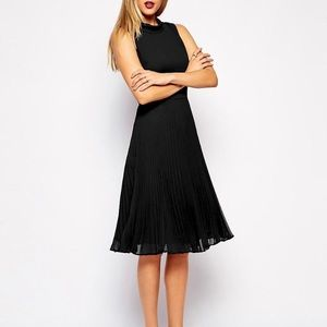 ASOS Midi Dress with Pleated Skirt and High Neck