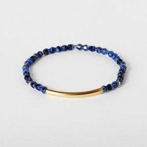 Jewelry - NEW Gold Bar and Lapis Blue Beaded Bracelet