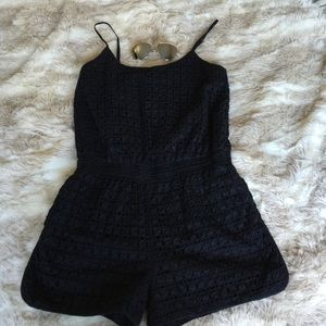 Banana Republic Pants - Banana Republic eyelet black romper size 6
