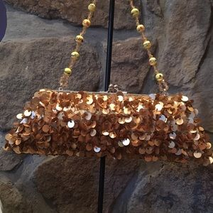 Gold evening bag w beaded handle