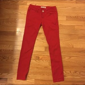 Red skinny jeans. Size 1