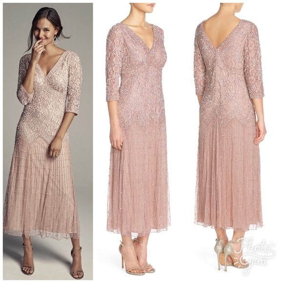 17daa0237f9 Beaded Mesh Drop Waist Dress by Pissaro Nights! M 59151ee8bf6df5818a026284