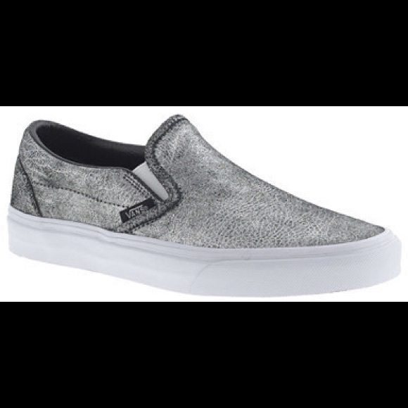 0acb9a5984dc3f Vans slip-on sneakers in metallic silver leather. M 5786ecc43c6f9f22ad006314