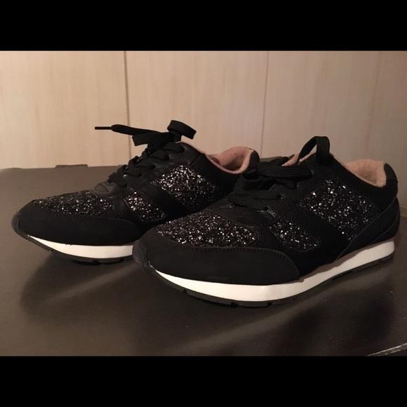 Shoes | Black Shiny Tennis | Poshmark