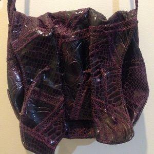 Carlos Falchi Handbags - Carlos Falchi Target Eggplant Shoulder Bag