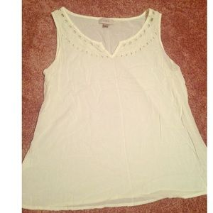 LOFT Cream Sleeveless Blouse