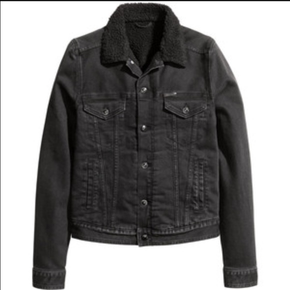 bf1340c92b4 H M Jackets   Blazers - H M fur pile lined black denim jacket ...