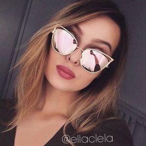 Gold Pink Cateye Mirror Sunglasses