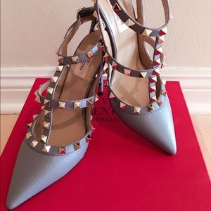 Valentino Shoes - Valentino Rockstud 100mm Pebbled Leather Pump
