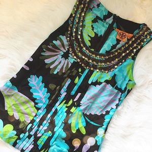 Gorgeous Tory Burch Embellished Silk Tank