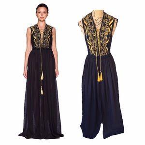 Bec & Bridge Dresses & Skirts - BEC & BRIDGE Gold Embroidered Black Maxi Dress