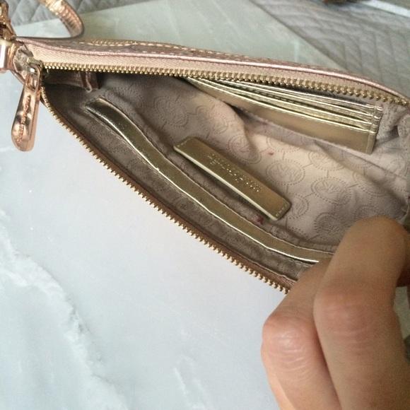 9305d018dd6a ... Michael Kors Bags - Rose Gold MK Mirror Monogram Jet Set Wristlet ...