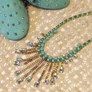 Mint green aqua & gold   statement necklace