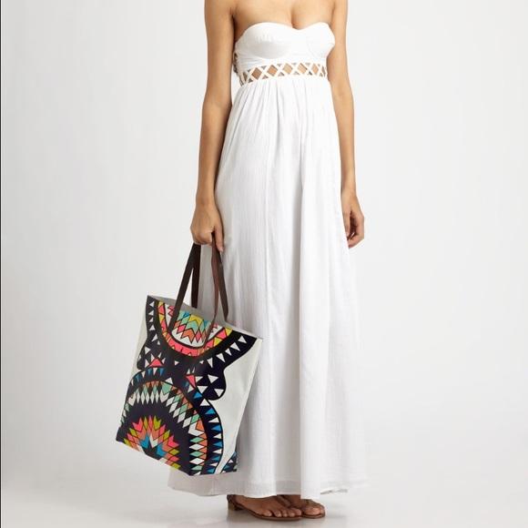 d34491afab Mara Hoffman white lattice strapless dress EUC