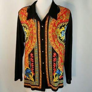 Vtg Scarf Inspired Ornate Panel Print Sweater