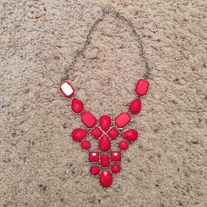 Red and silver bib necklace