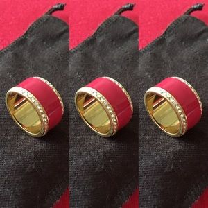 BCBGMaxAzria Jewelry - Bcbgmaxazaria pink ring with bling and gold piping