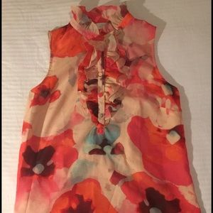 Floral sleeveless work blouse