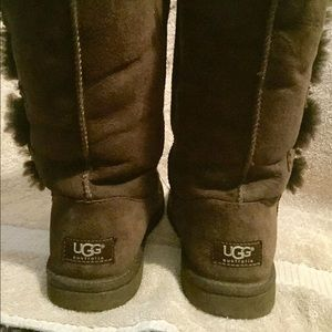 UGG Shoes - Used Tall Brown Bailey-Button Uggs