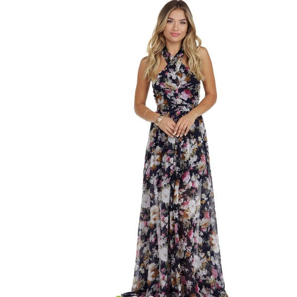 752a608352b Long Flowy Floral Chiffon Maxi dress in Navy