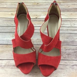 Zara Shoes - Zara Red Suede cross strap Platform Heels