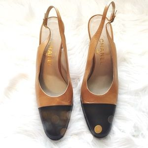 CHANEL Shoes - Authentic Vintage Chanel Cap Toe Slingback Heels