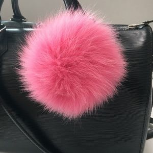 New furla bubble fur pompom keyring rose pink