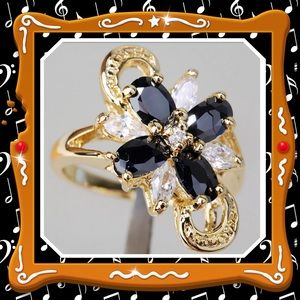 Black sapphire yellow gold plated ring