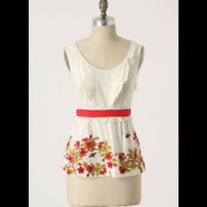 Anthropologie embroidered floreat top