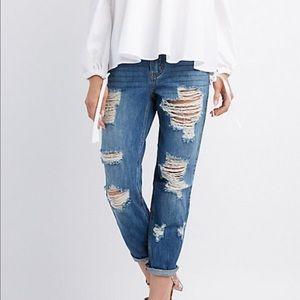Denim - boyfriend distressed jeans