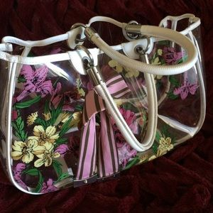 Laundry floral clear LARGE tote w/grosgrain bow