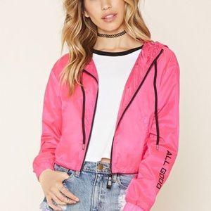pink cropped windbreaker