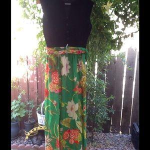 Vintage Velvet Floral 60's Maxi Dress size 3 4