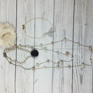 Jewelry - Lot of 3 Pearl Inspired Necklaces with Flower Pin