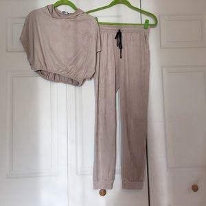 Fashion Nova Tops - Suede jogger suit