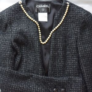 Vintage, Authentic, Chanel tweed jacket: w/ lace