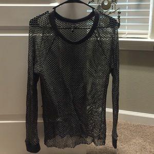 Woven fishnet top